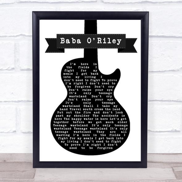 The Who Baba O'Riley Black & White Guitar Song Lyric Print