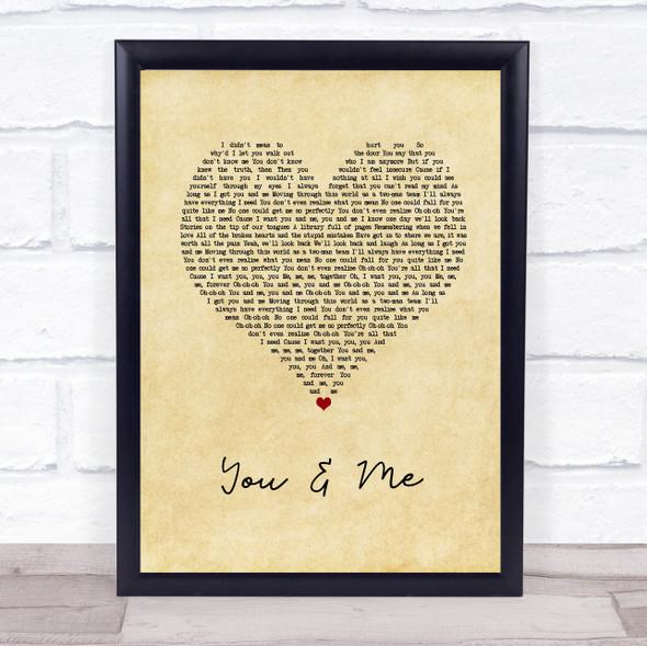 James TW You & Me Vintage Heart Song Lyric Print