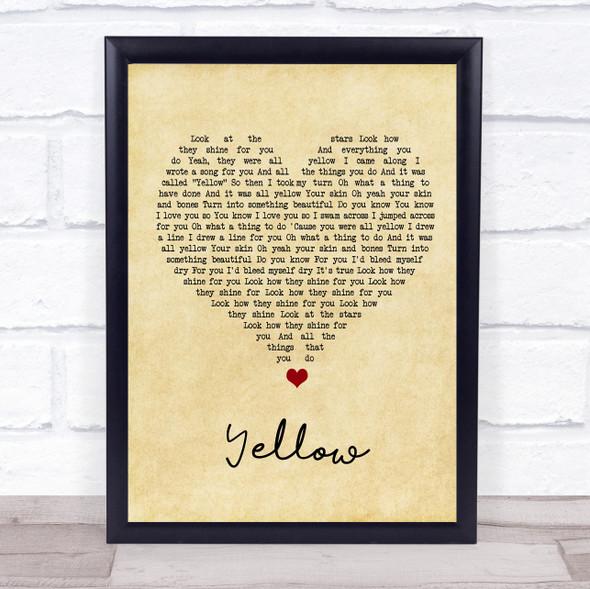 Coldplay Yellow Vintage Heart Song Lyric Print