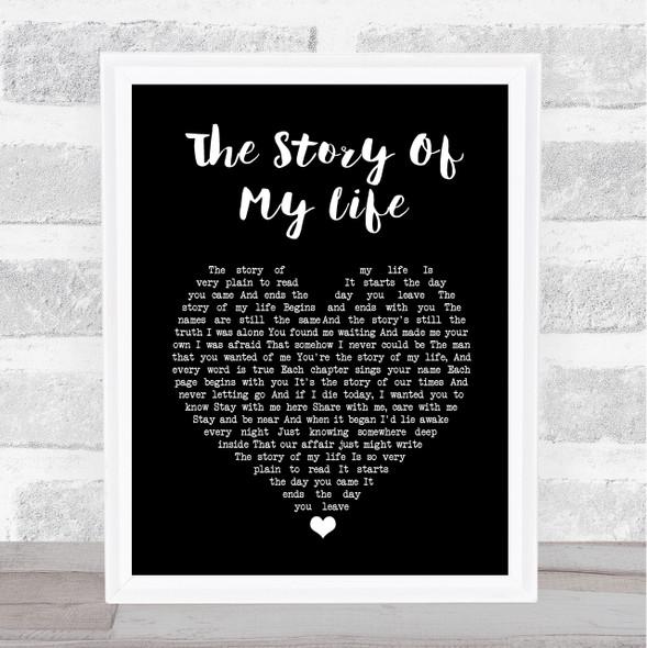 Neil Diamond The Story Of My Life Black Heart Song Lyric Print