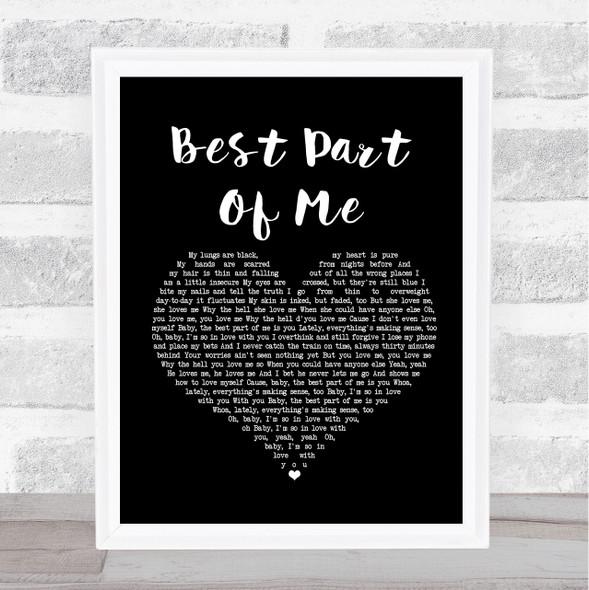 Ed Sheeran Best Part Of Me Black Heart Song Lyric Print