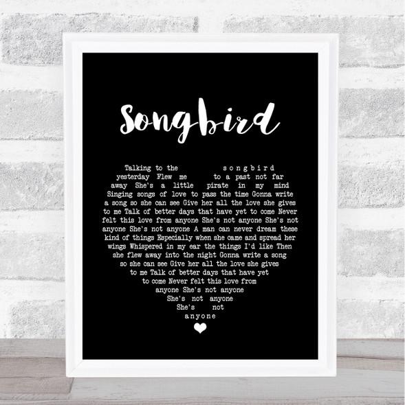 Oasis Songbird Black Heart Song Lyric Print