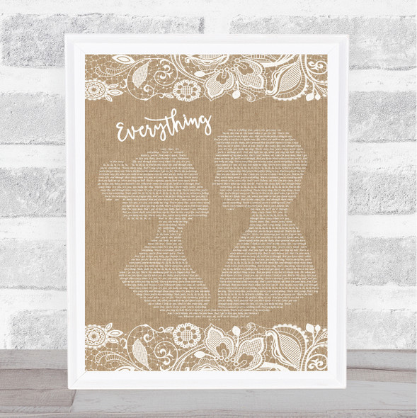 Michael Buble Everything Burlap & Lace Song Lyric Print
