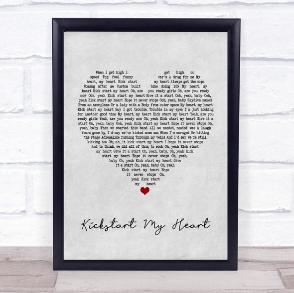 Mötley Crüe Kickstart my Heart Grey Heart Song Lyric Print