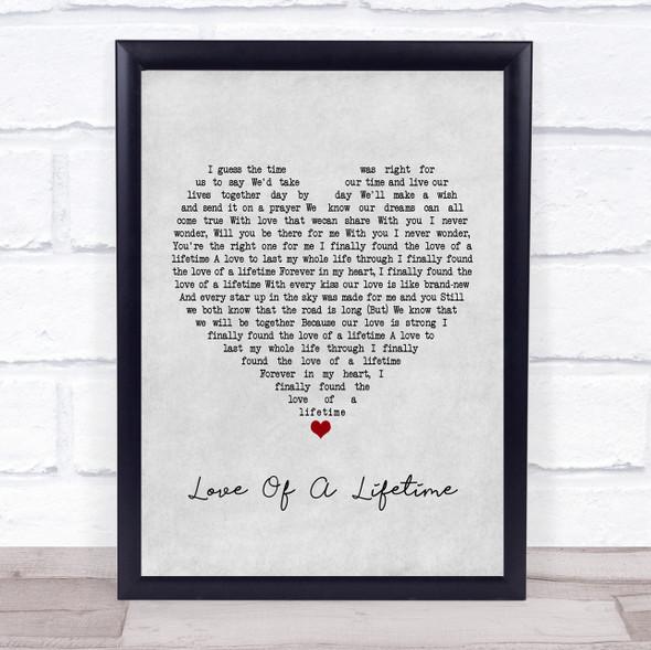 Firehouse Love Of A Lifetime Grey Heart Song Lyric Print