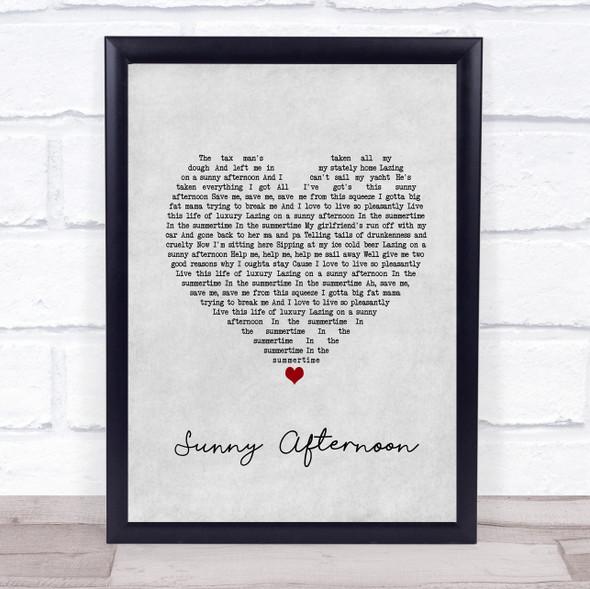 The Kinks Sunny Afternoon Grey Heart Song Lyric Print