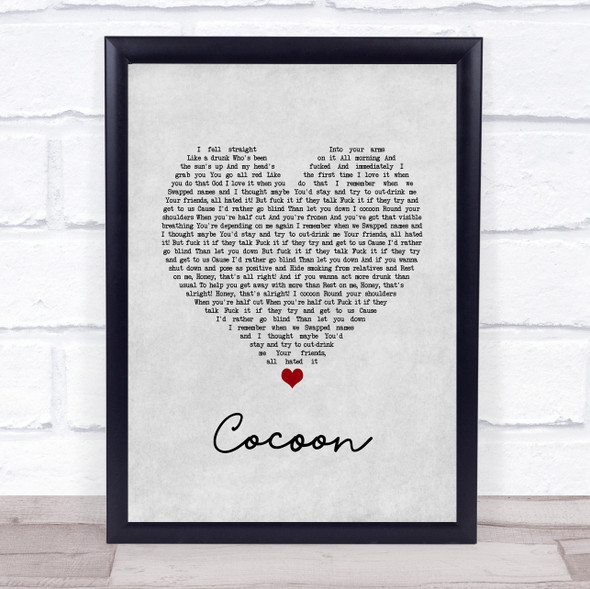 Catfish And The Bottlemen Cocoon Grey Heart Song Lyric Print