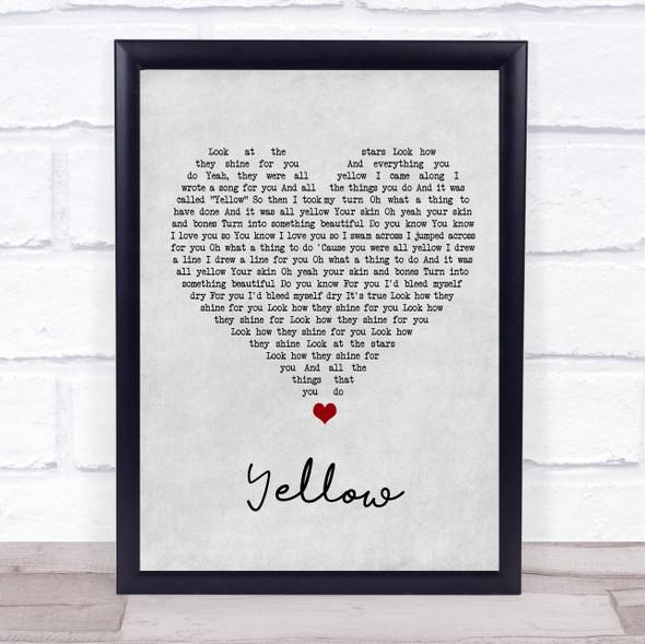 Coldplay Yellow Grey Heart Song Lyric Print