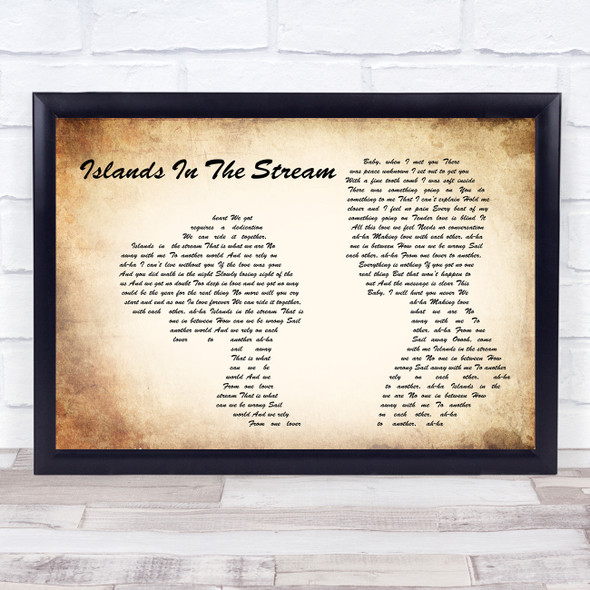 Kenny Rogers & Dolly Parton Islands In The Stream Man Lady Couple Lyric Print