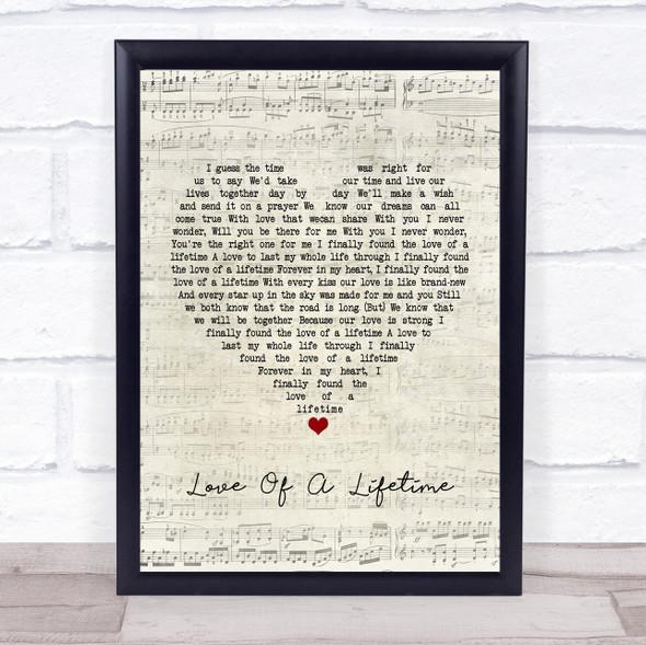 Firehouse Love Of A Lifetime Script Heart Song Lyric Print
