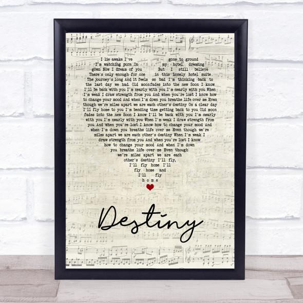 Zero 7 Destiny Script Heart Song Lyric Print