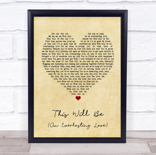 Natalie Cole This Will Be (An Everlasting Love) Vintage Heart Song Lyric Print