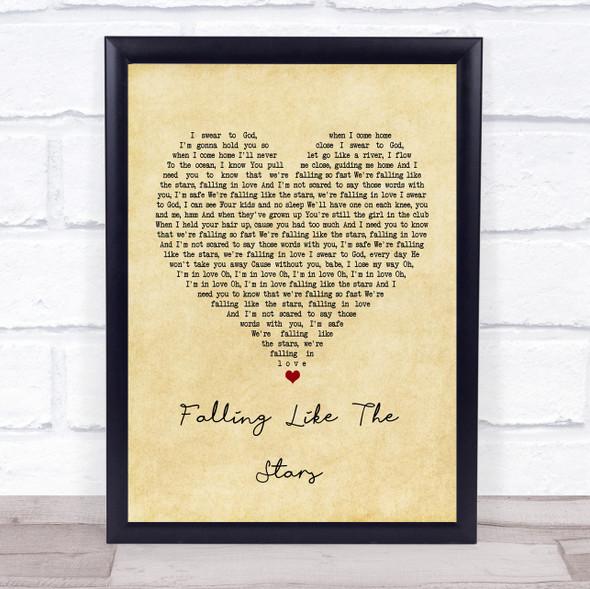 James Arthur Falling like the Stars Vintage Heart Song Lyric Print