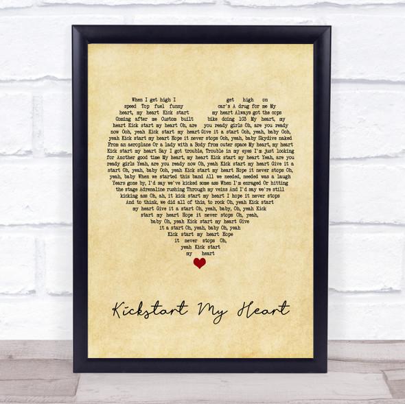 Mötley Crüe Kickstart my Heart Vintage Heart Song Lyric Print