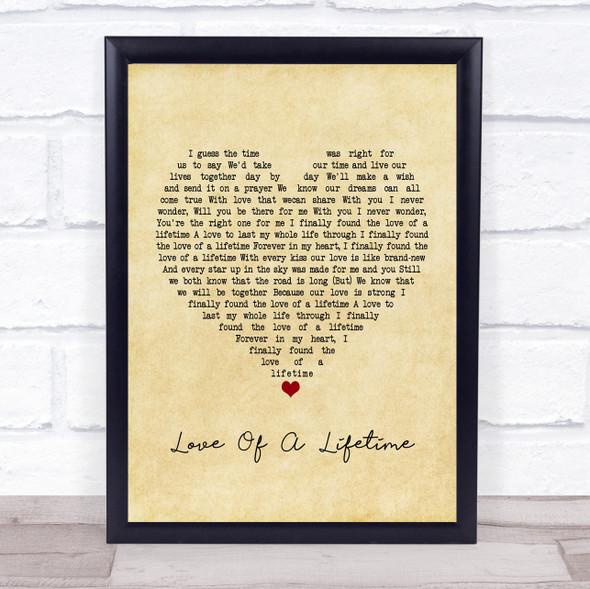 Firehouse Love Of A Lifetime Vintage Heart Song Lyric Print