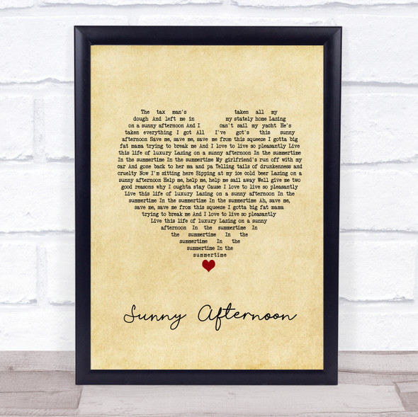The Kinks Sunny Afternoon Vintage Heart Song Lyric Print