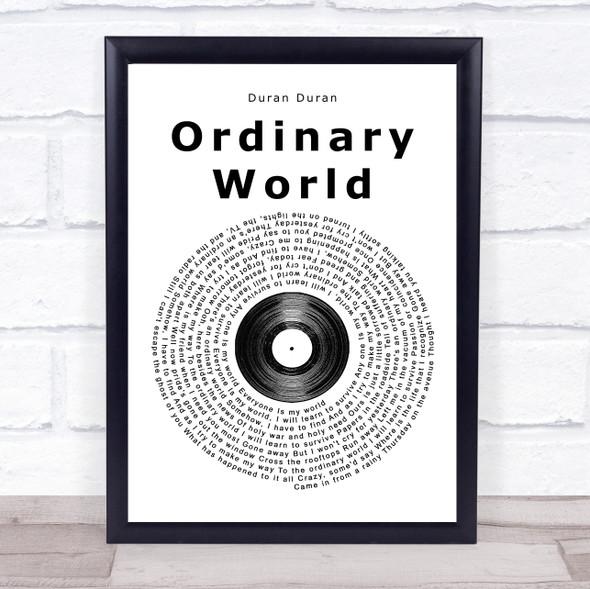 Duran Duran Ordinary World Vinyl Record Song Lyric Print