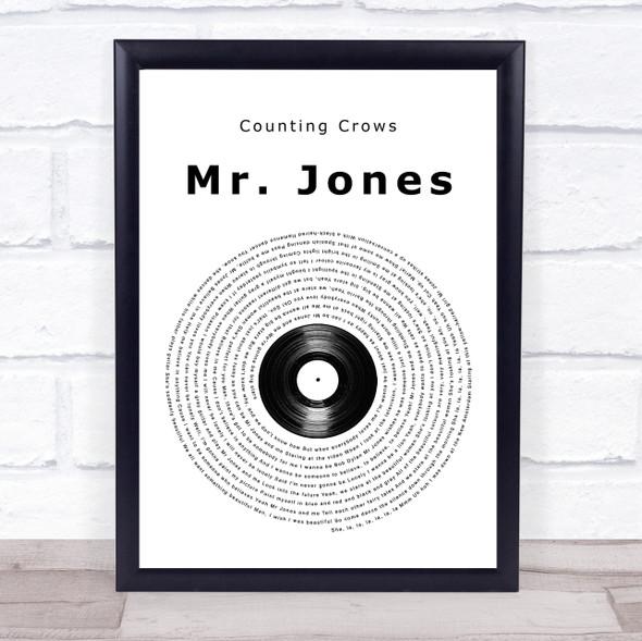 Counting Crows Mr. Jones Vinyl Record Song Lyric Print