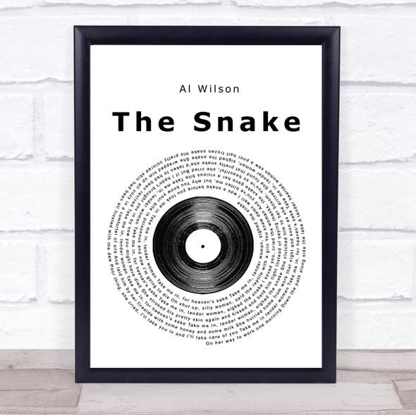 Al Wilson The snake Vinyl Record Song Lyric Print