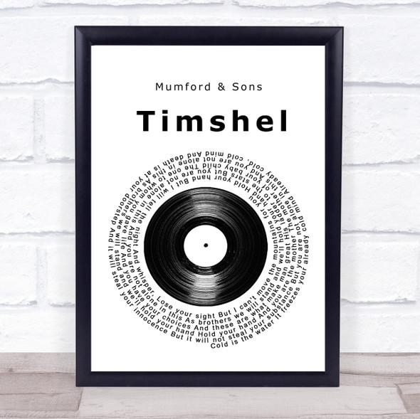 Mumford & Sons Timshel Vinyl Record Song Lyric Print