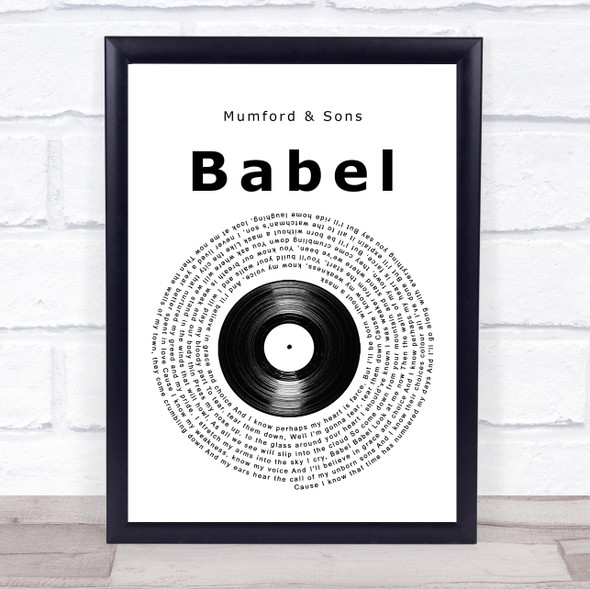 Mumford & Sons Babel Vinyl Record Song Lyric Print