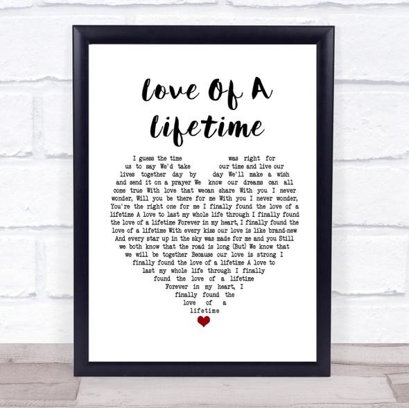 Firehouse Love Of A Lifetime White Heart Song Lyric Print
