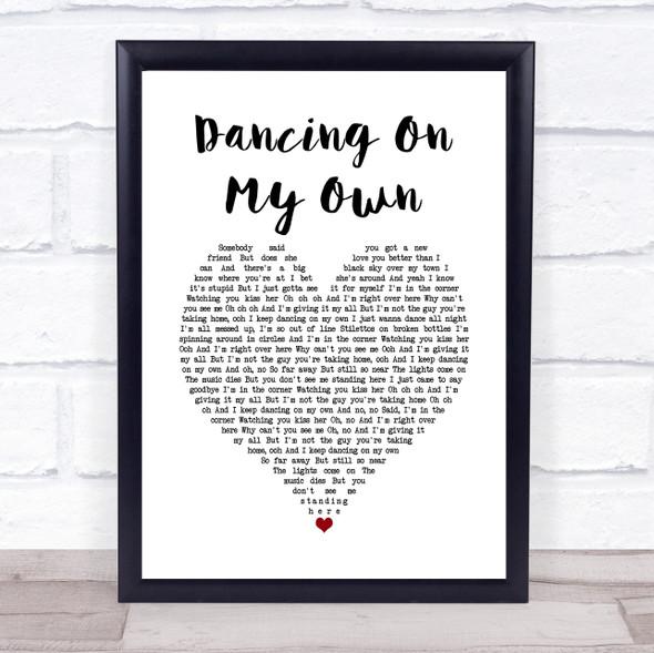 Calum Scott Dancing On My Own White Heart Song Lyric Print