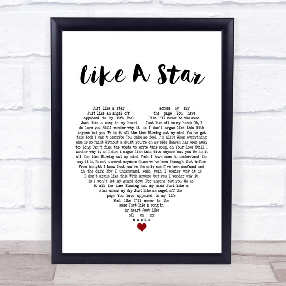 Corinne Bailey Rae Like A Star White Heart Song Lyric Print