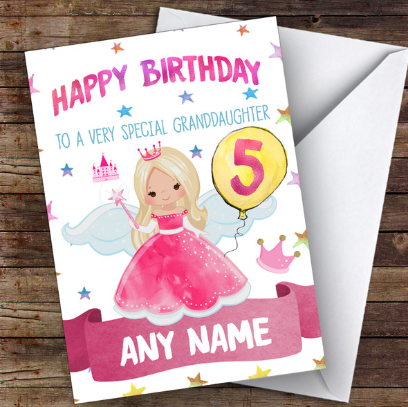 Personalised Birthday Card Fairy Princess 1St 2Nd 3Rd 4Th 5Th 6Th Granddaughter