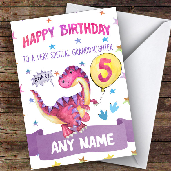 Personalised Girls Birthday Card Dinosaur 1St 2Nd 3Rd 4Th 5Th 6Th Granddaughter