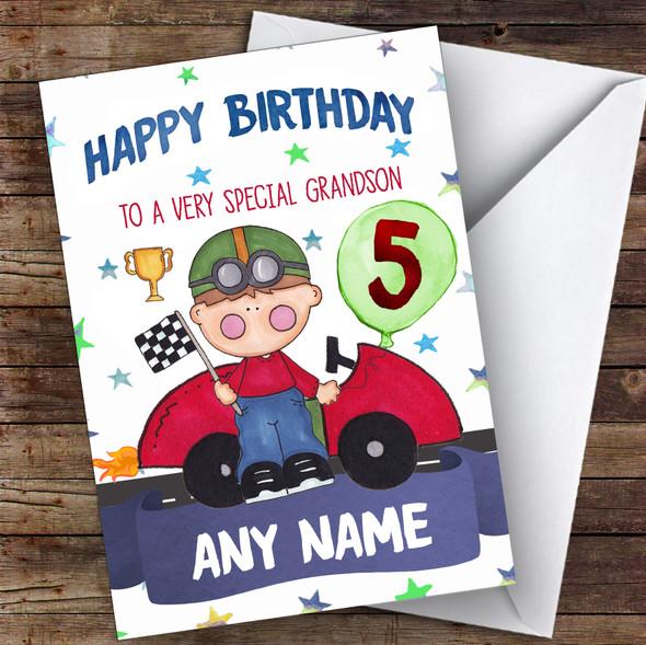 Personalised Boys Birthday Card Racing Car 1St 2Nd 3Rd 4Th 5Th 6Th Grandson