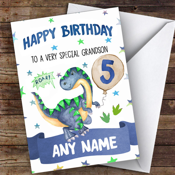 Personalised Boys Birthday Card Dinosaur 1St 2Nd 3Rd 4Th 5Th 6Th Grandson