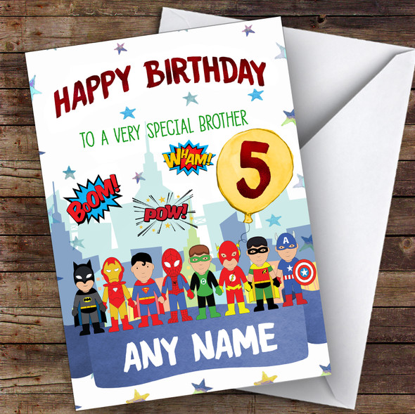 Personalised Boys Birthday Card Superhero 1St 2Nd 3Rd 4Th 5Th 6Th Brother