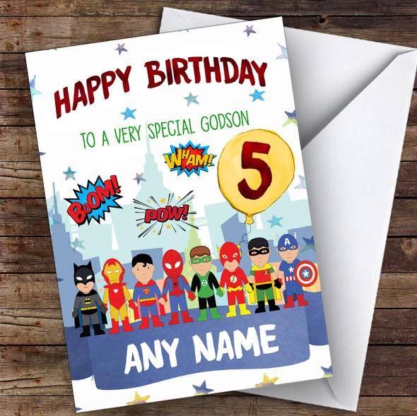 Personalised Boys Birthday Card Superhero 1St 2Nd 3Rd 4Th 5Th 6Th Godson