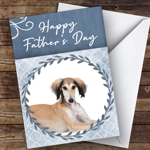 Saluki Dog Traditional Animal Personalised Father's Day Card