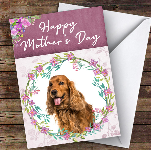 English Cocker Spaniel Dog Traditional Animal Personalised Mother's Day Card