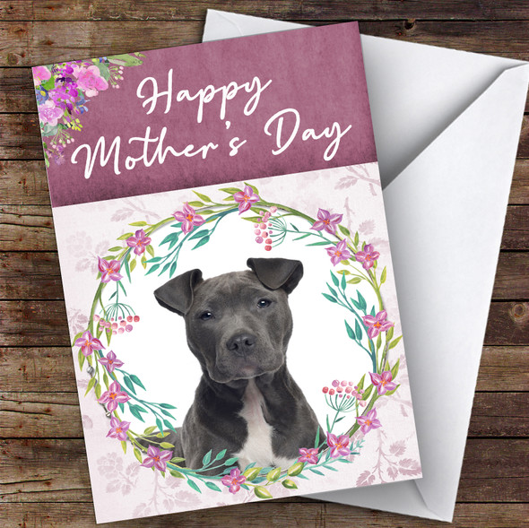 Staffordshire Terrier Dog Traditional Animal Personalised Mother's Day Card