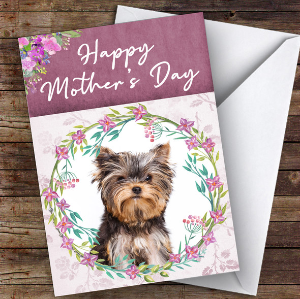 Yorkshire Terrier Dog Traditional Animal Personalised Mother's Day Card