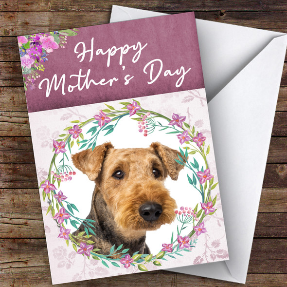 Airedale Terrier Dog Traditional Animal Personalised Mother's Day Card