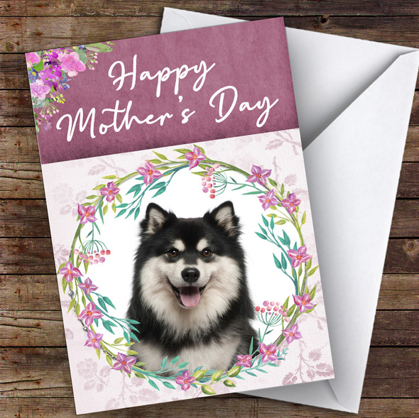 Finnish Lapphund Dog Traditional Animal Personalised Mother's Day Card