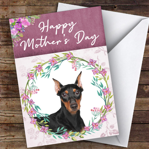 German Pinscher Dog Traditional Animal Personalised Mother's Day Card