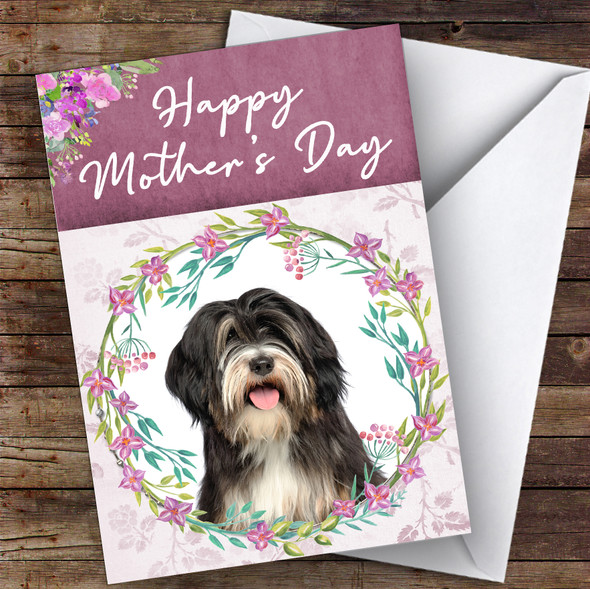 Tibetan Terrier Dog Traditional Animal Personalised Mother's Day Card