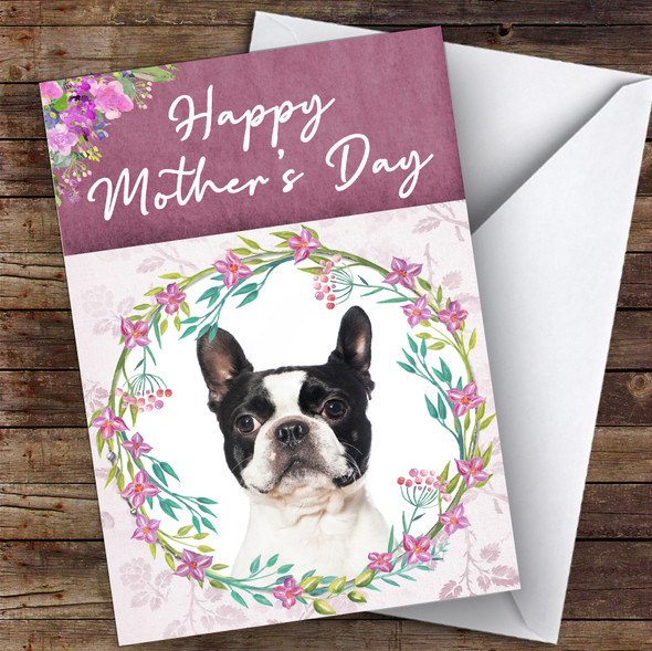 Boston Terrier Dog Traditional Animal Personalised Mother's Day Card