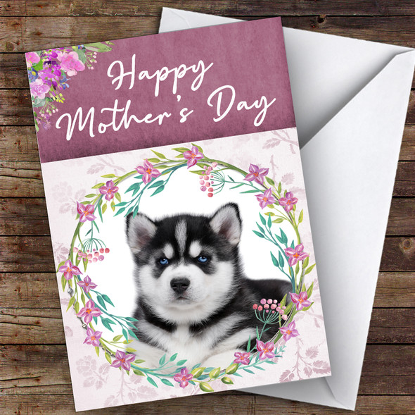 Siberian Husky Dog Traditional Animal Personalised Mother's Day Card