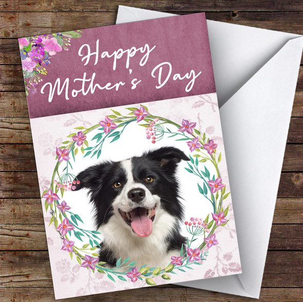 Border Collie Dog Traditional Animal Personalised Mother's Day Card
