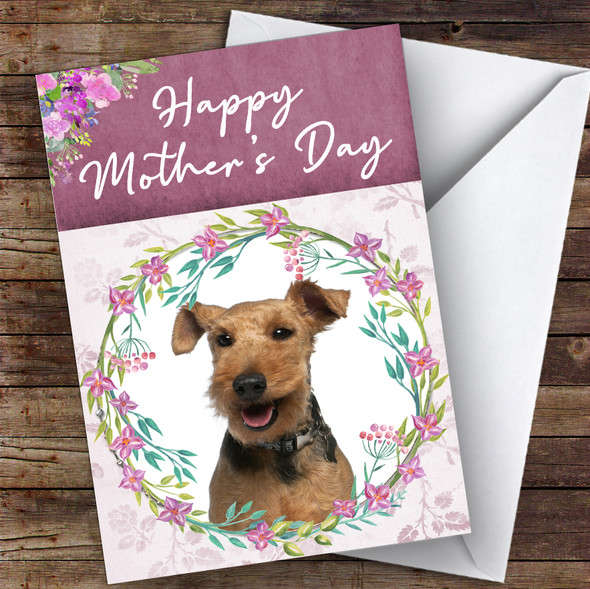 Welsh Terrier Dog Traditional Animal Personalised Mother's Day Card