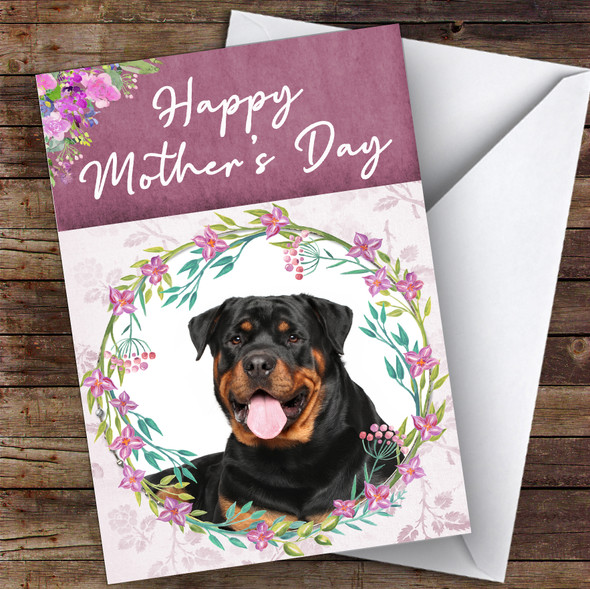 Rottweiler Dog Traditional Animal Personalised Mother's Day Card