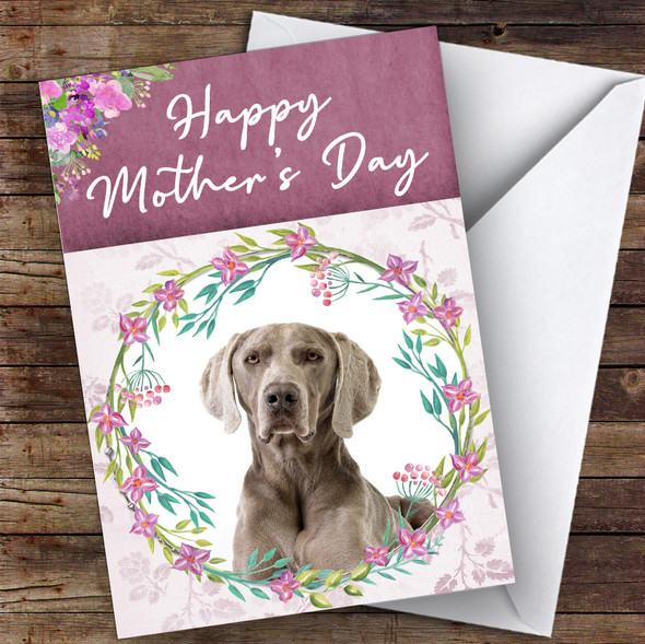 Weimaraner Dog Traditional Animal Personalised Mother's Day Card