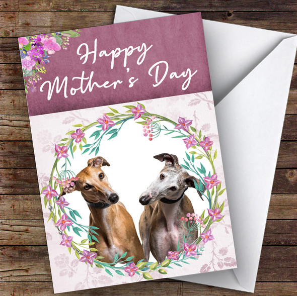 Greyhound Dog Traditional Animal Personalised Mother's Day Card