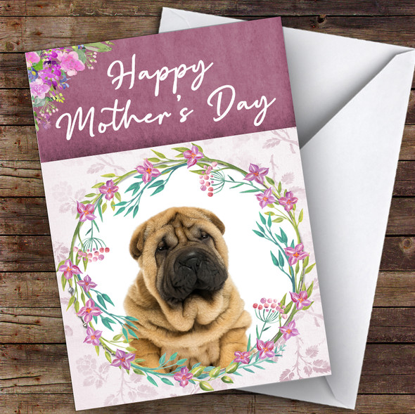 Shar-Pei Dog Traditional Animal Personalised Mother's Day Card